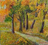 L`automne, huile sur carton marouflé