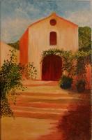 l`église, huile sur toile